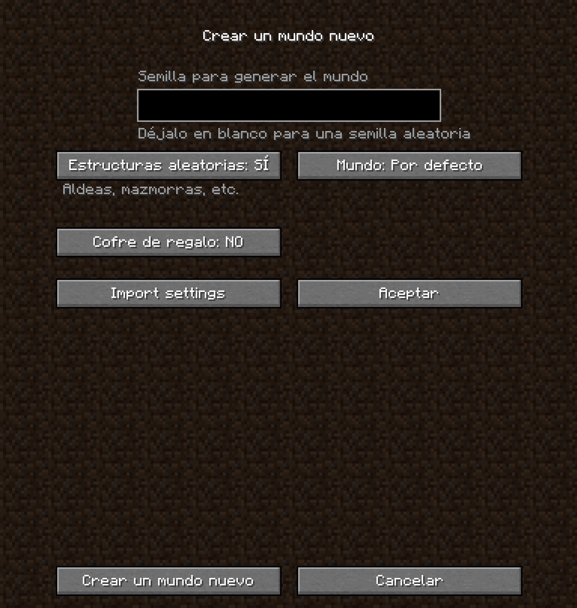 Importar configuración de un mundo en Minecraft Nether Update Snapshot 20W21A