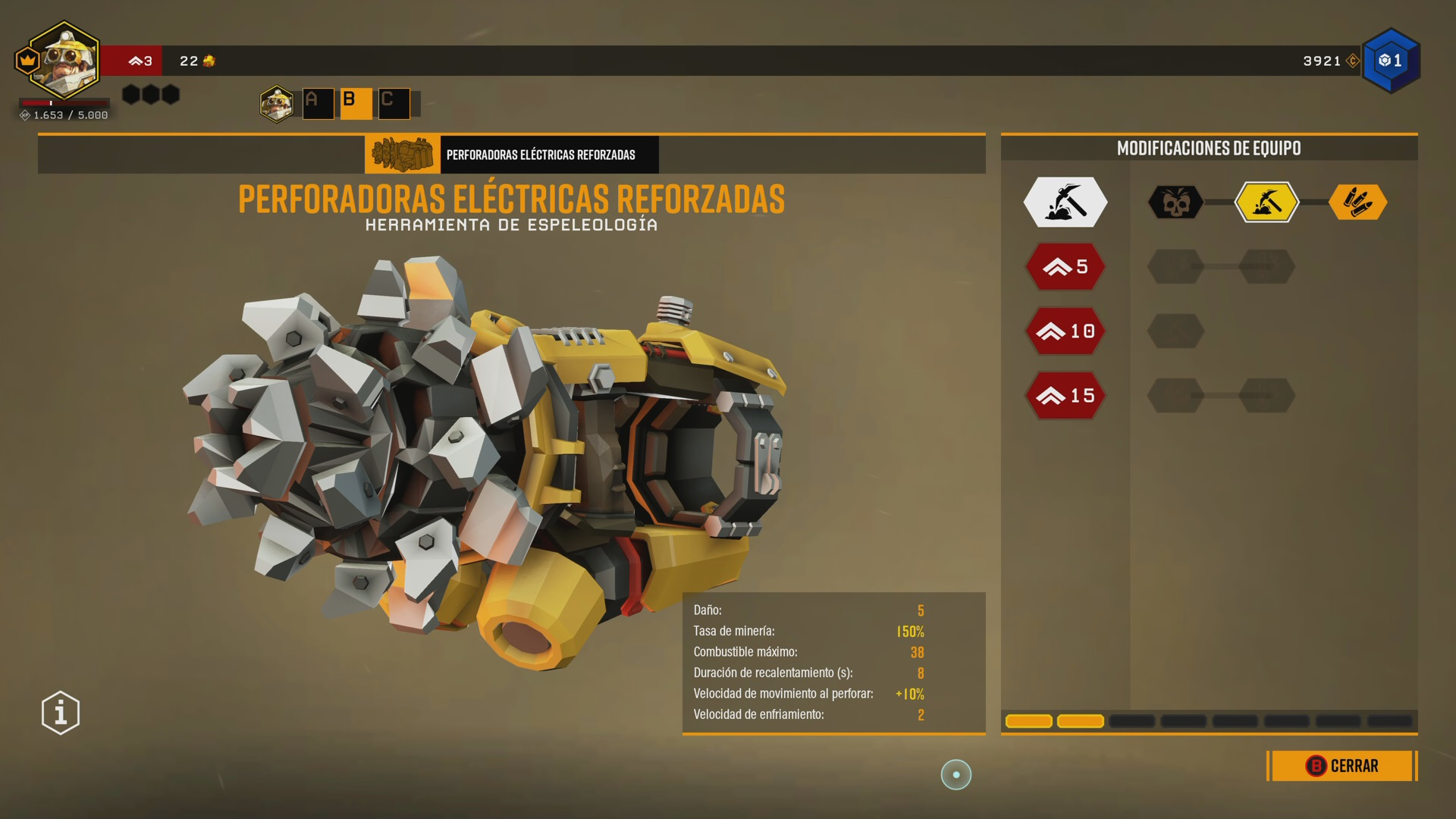 Mejoras de un arma en Deep Rock Galactic sin descripción