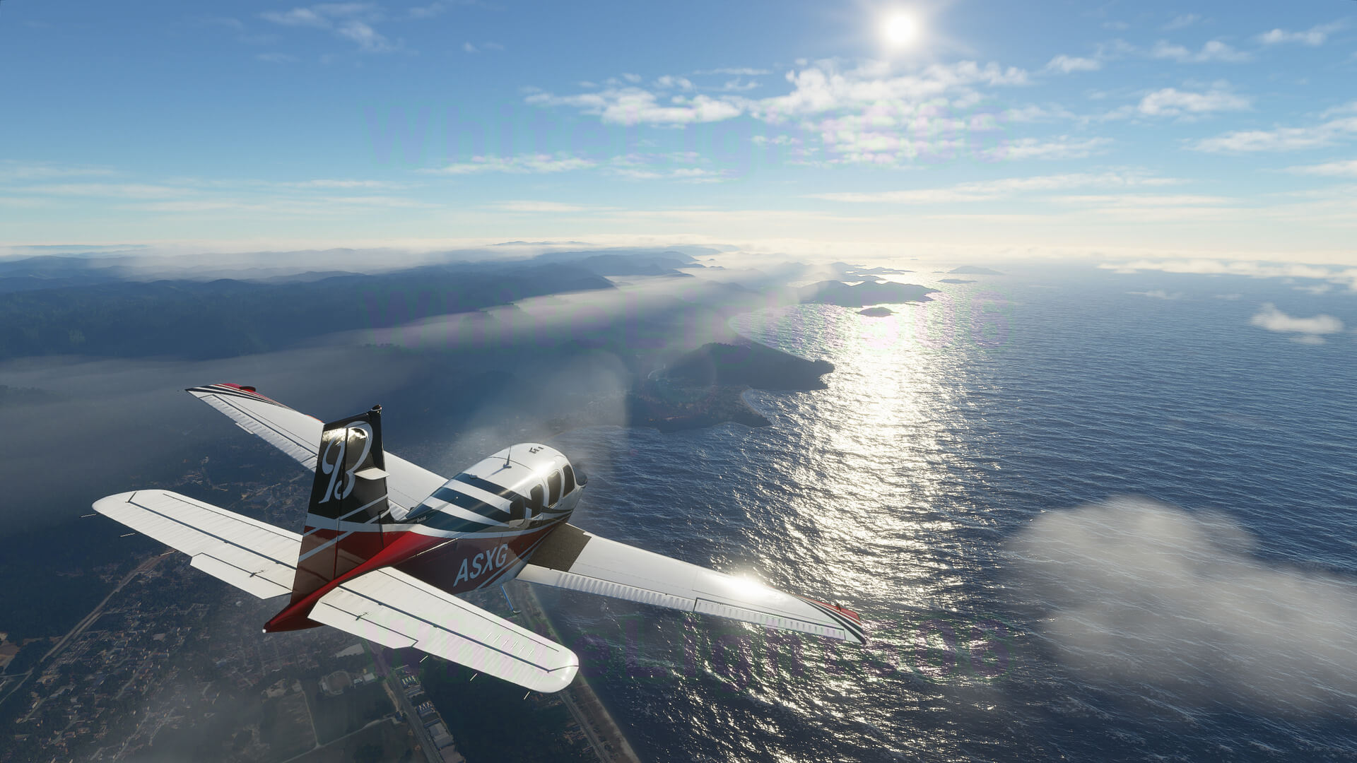 Microsoft Flight Simulator captura 6 avion y el mar