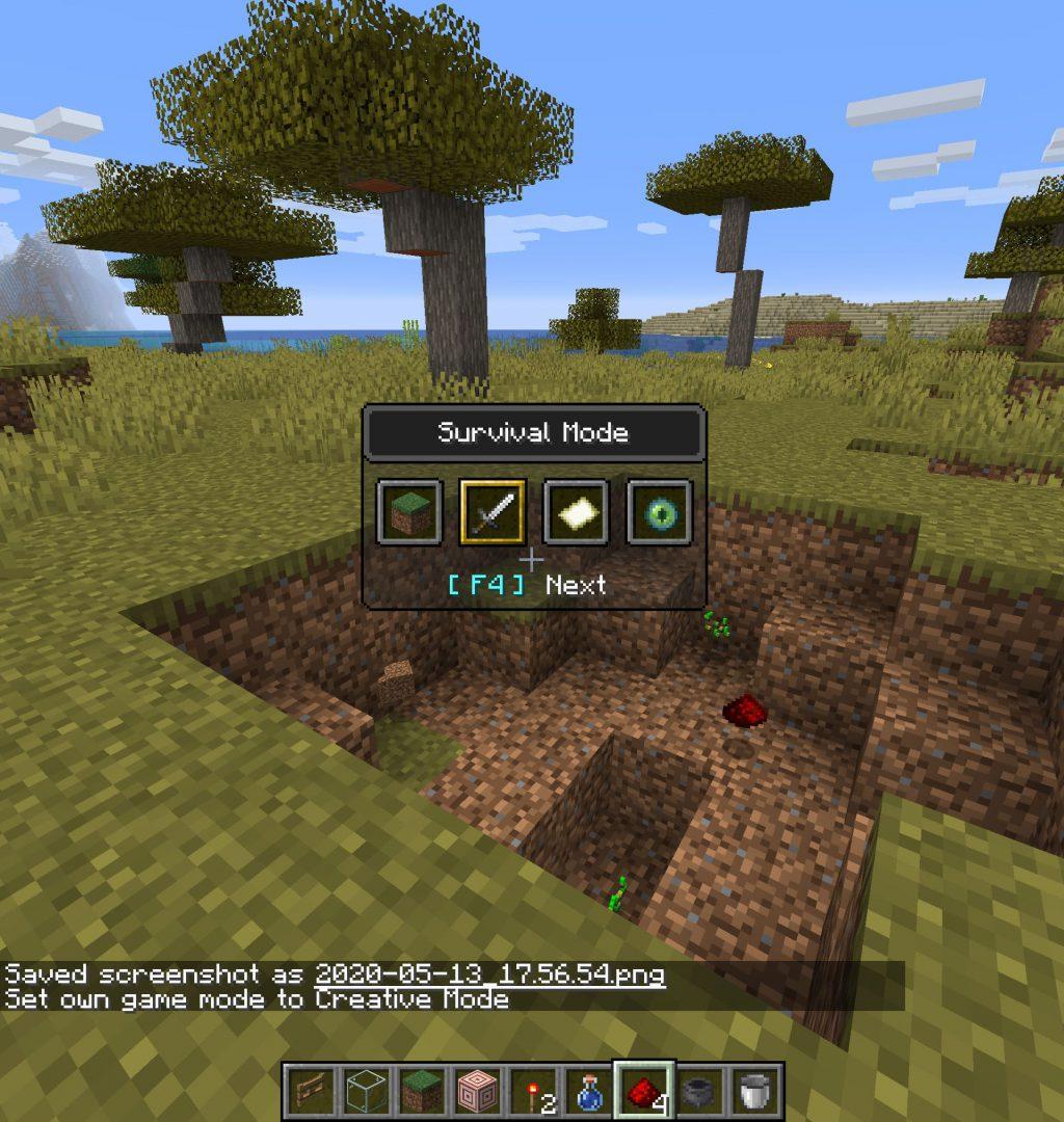 Nuevo menú de cambio de modo de juego en Minecraft Nether Update Snapshot 20W20A