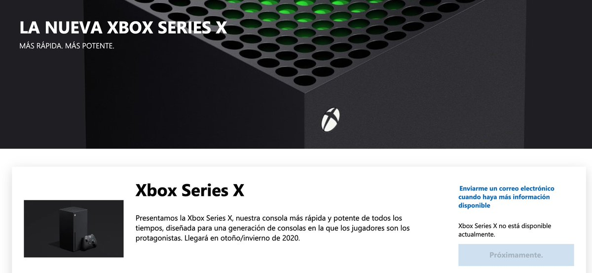 Xbox Series X en la tienda de Microsoft