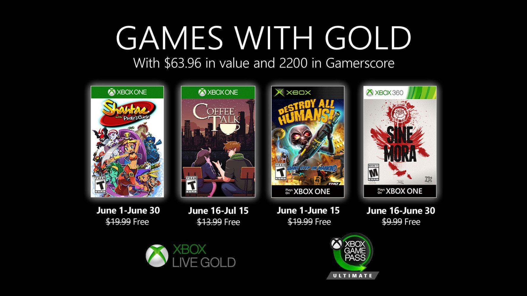 Desvelados los Juegos con Gold del próximo mes de junio - Ya están aquí los nuevos Juegos con Gold del mes de junio, en el que podremos disfrutar de 4 títulos de forma gratuita con nuestra membresía Gold.