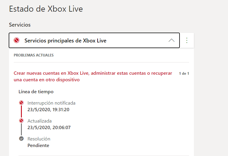 Estado de Xbox Live