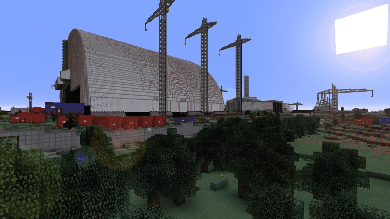 Chernobyl en Minecraft construccion con gruas
