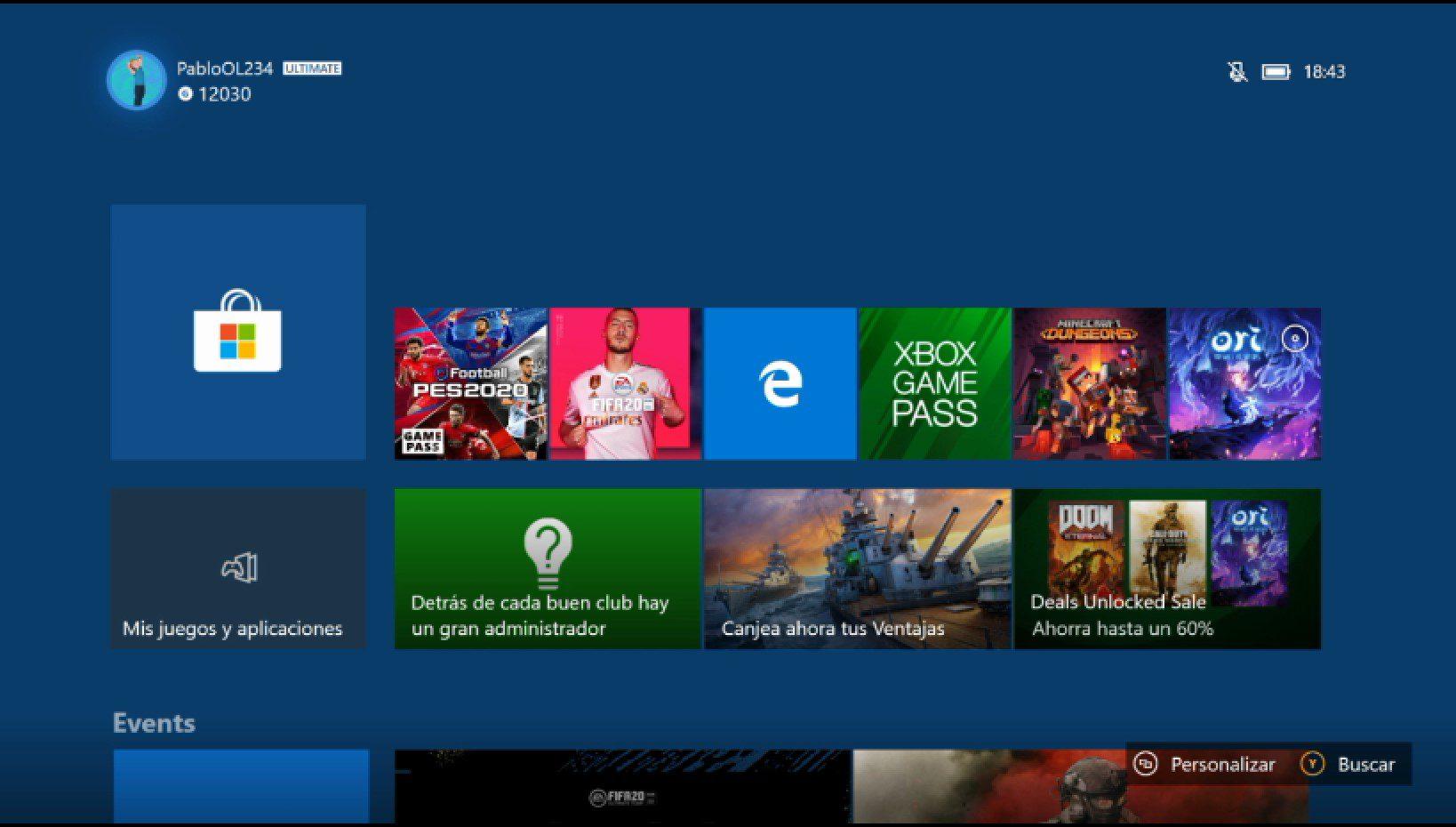Mejoras del menú Inicio actualización de junio 2020 de Xbox One
