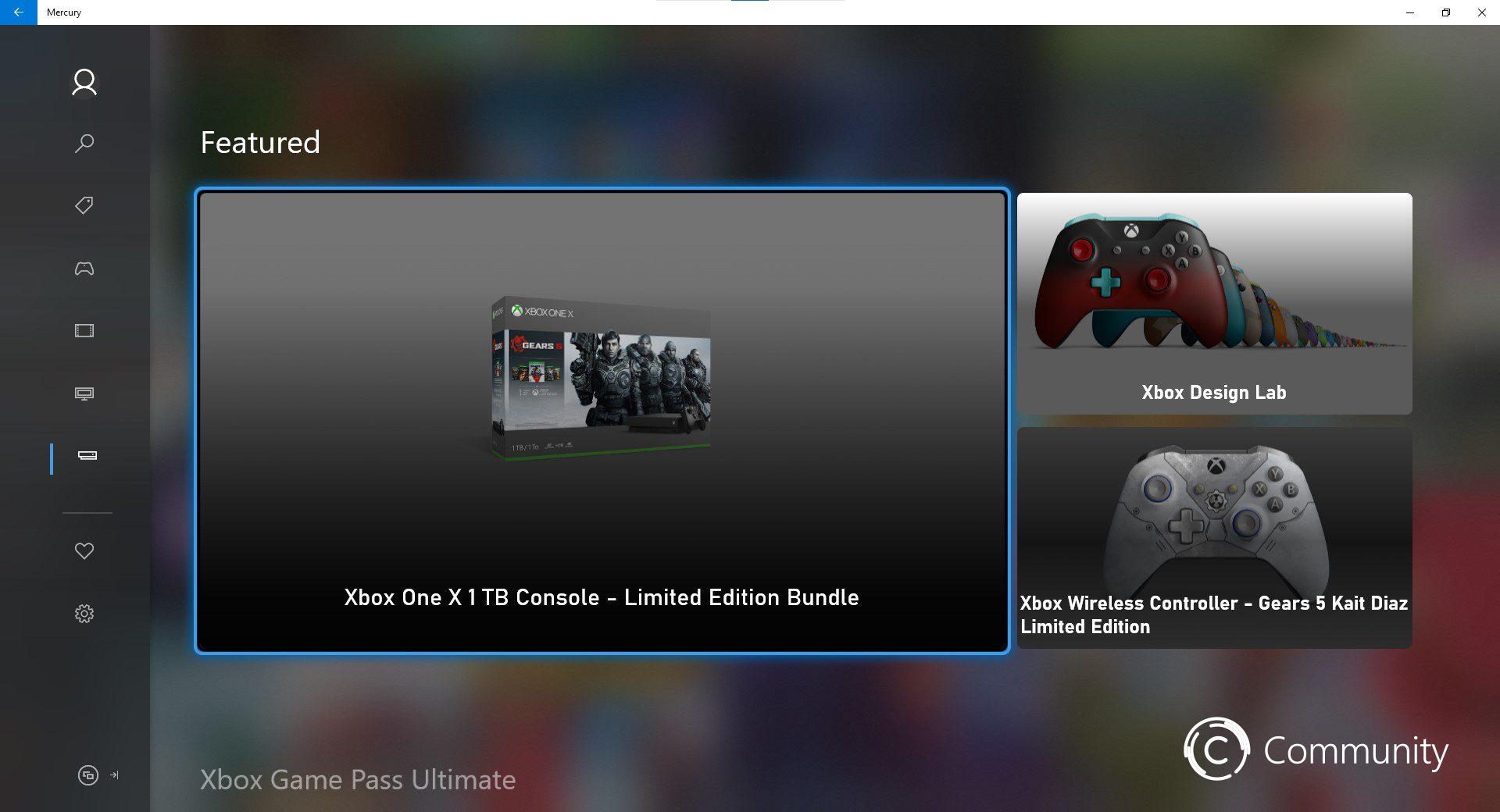 Mercury (nueva tienda de Xbox) página de Hardware