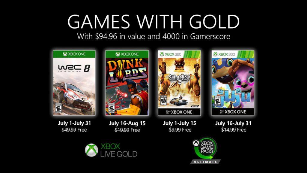 Desvelados los Juegos con Gold del próximo mes de julio