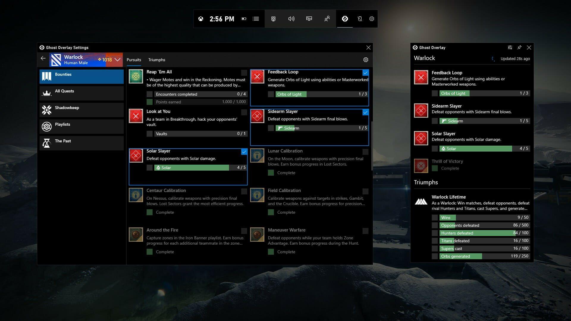 Ghost de la barra de juego de Xbox