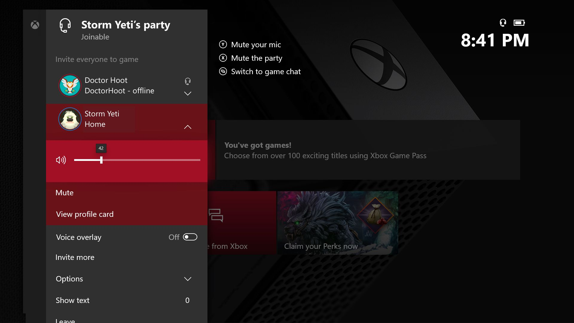 Gestión individual del volumen de cada integrante en la Party de Xbox One