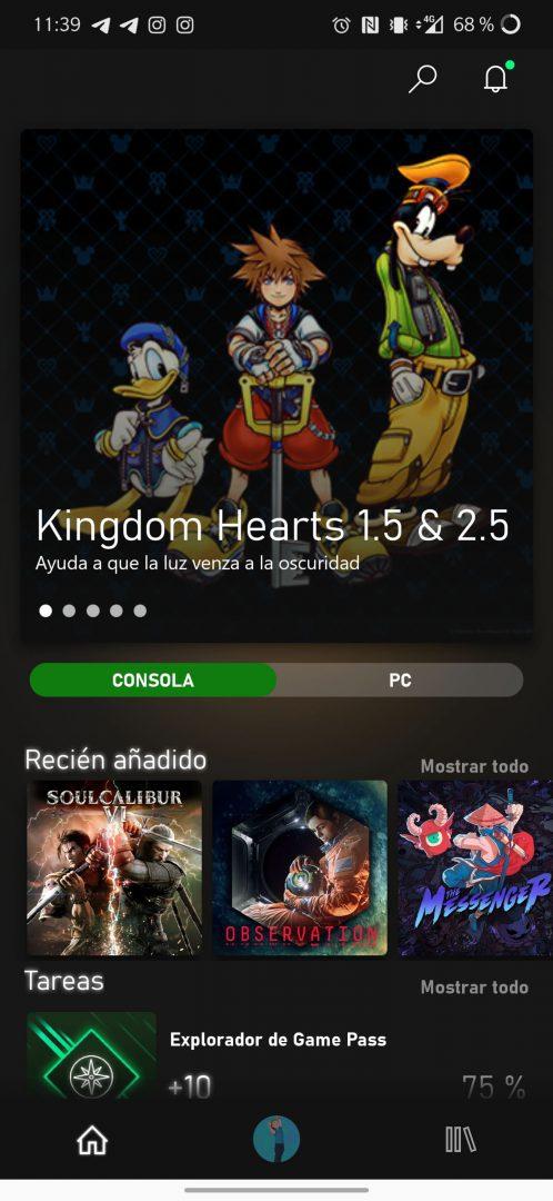Nuevo inicio de Xbox Game Pass para Android
