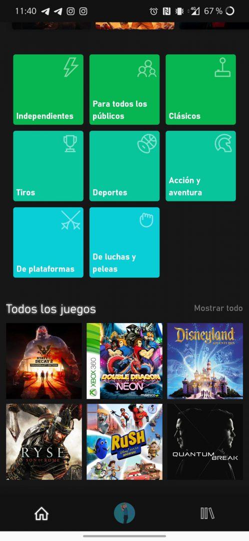 Secciones de Xbox Game Pass para Android