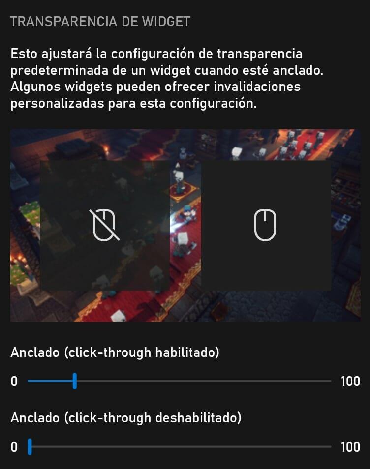 Transparencia de la barra de juego en la configuración