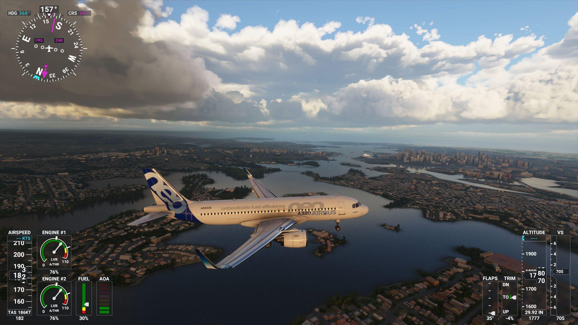 Airbus sobre Sidney en Microsoft Flight Simulator