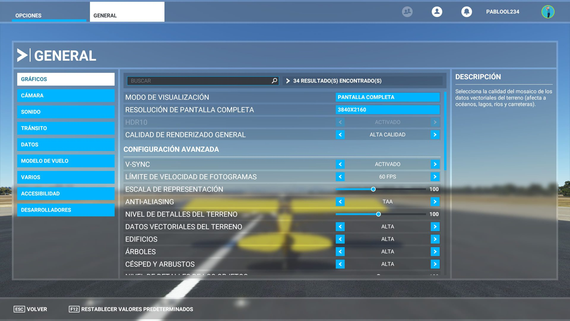 Configuración de Microsoft Flight Simulator