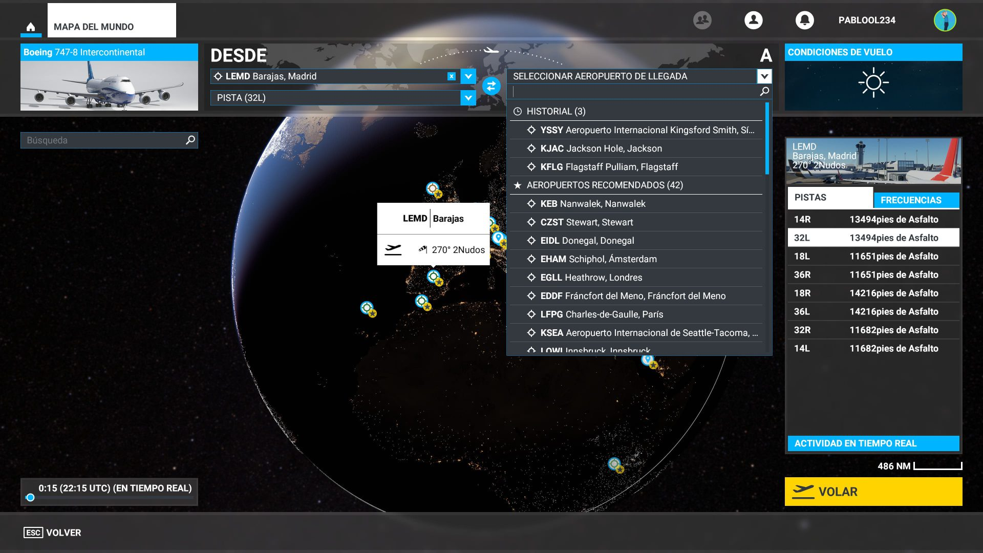 Configurar vuelo de Microsoft Flight SImulator 1