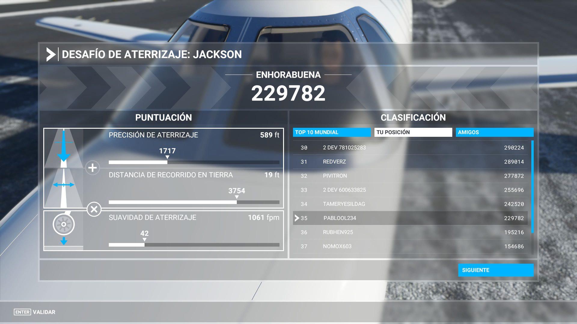 Desafio de aterrizaje completado, puntuación y clasificación