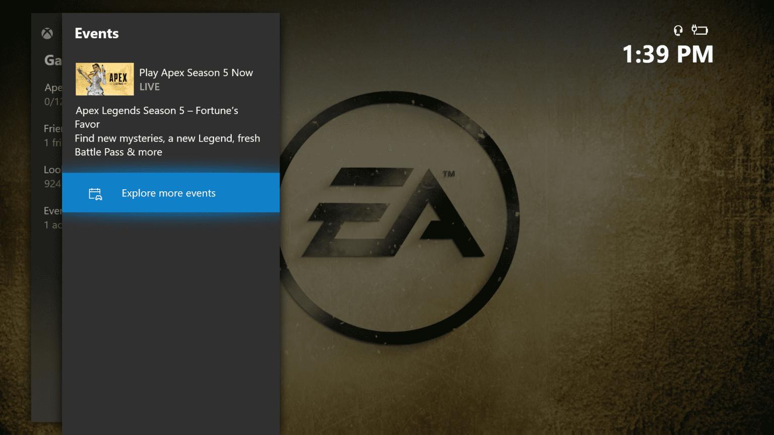 Eventos de un juego de la pestaña juegos de Xbox One en Insider para la actualización de agosto 2008