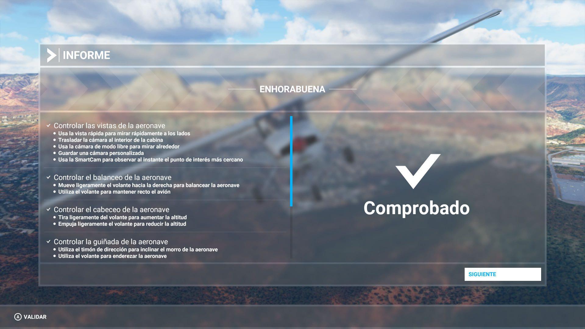 Informe del tutorial Microsoft Flight Simulator