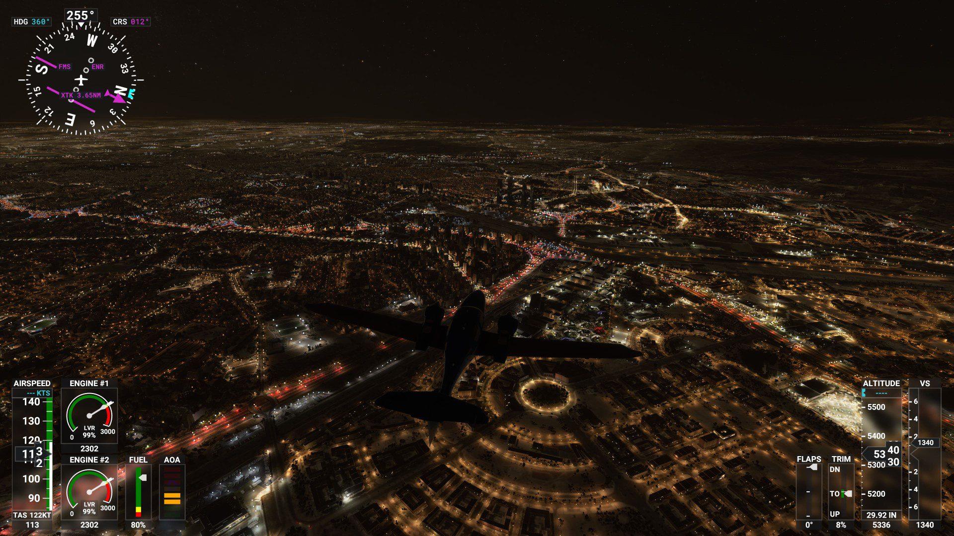 Madrid nocturna en Microsoft Flight Simulator