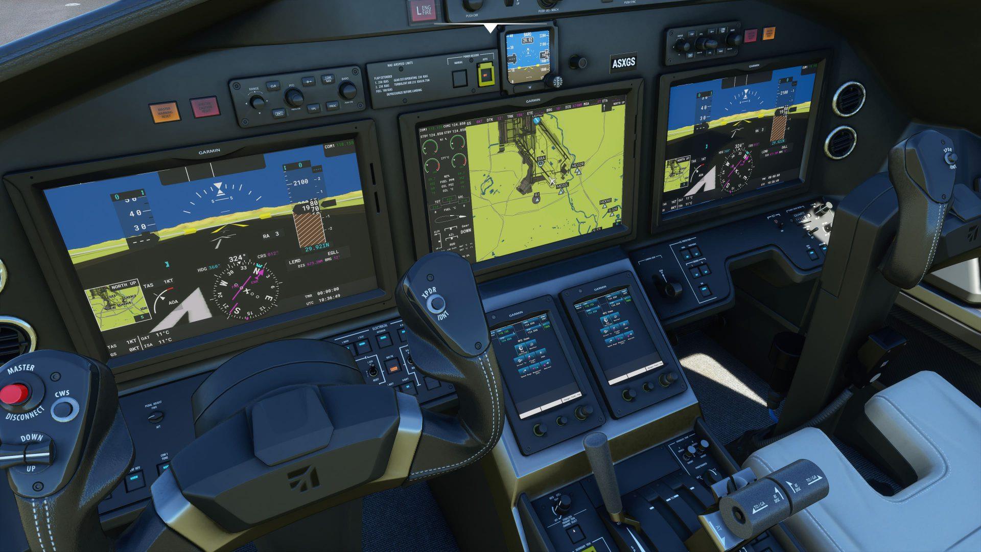 Mandos de un avión de Microsoft Flight Simulator