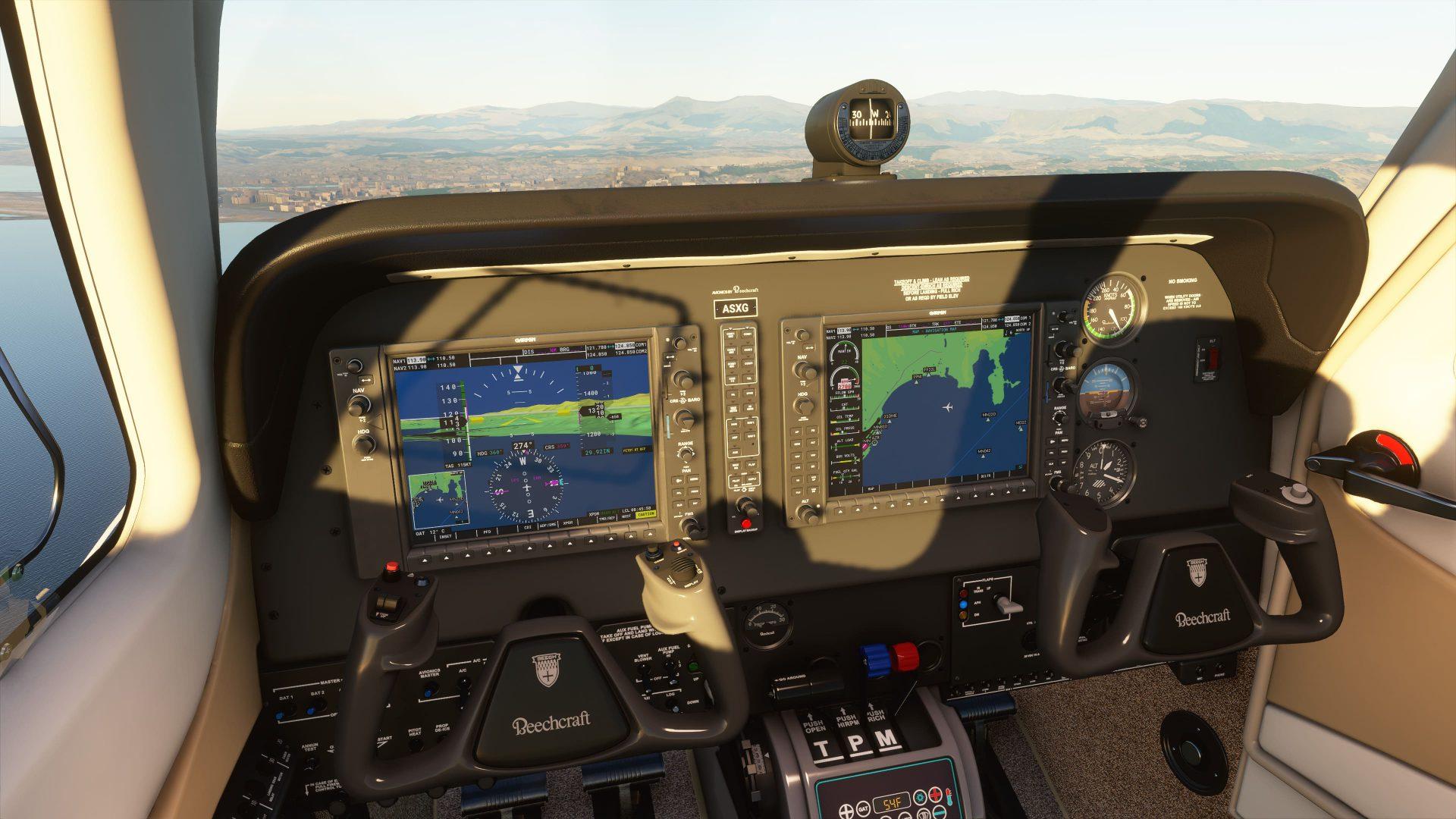 Mandos de un avión de un desafio de Microsoft Flight Simulator