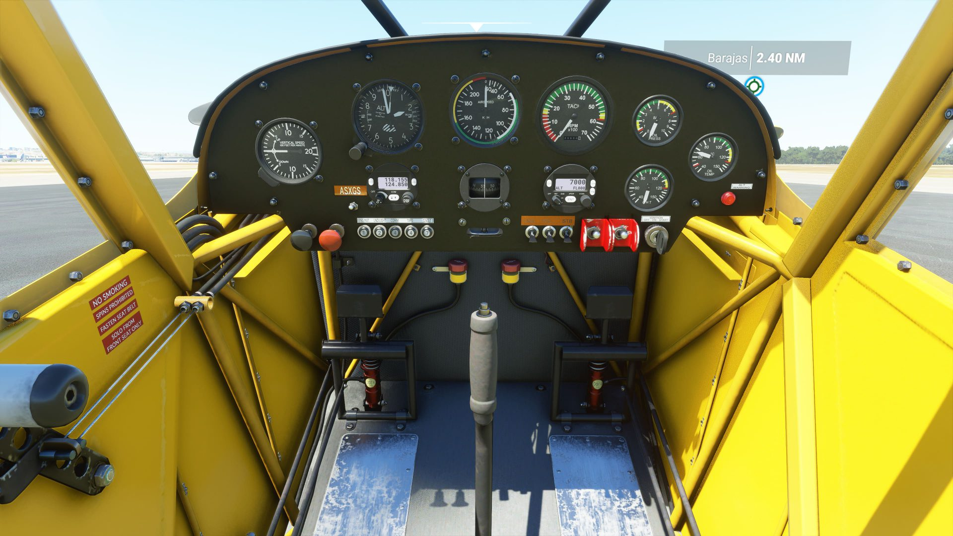 Mandos de una avioneta de Microsoft Flight Simulator