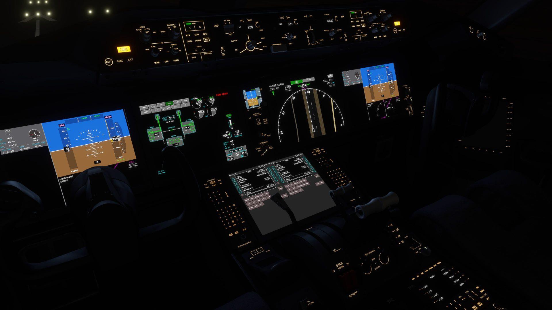 Mandos del boeing 787 de noche en Microsoft Flight Simulator