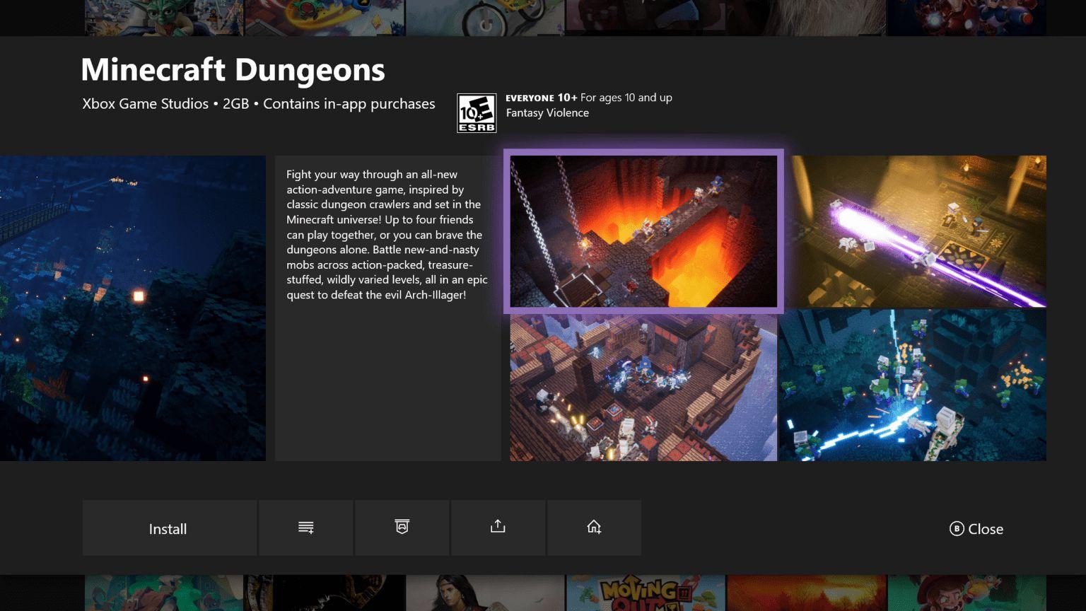 Minecraft Dungeons en la nueva tarjeta capturas de mis juegos y aplicaciones de la actualización de Insider de XBox One