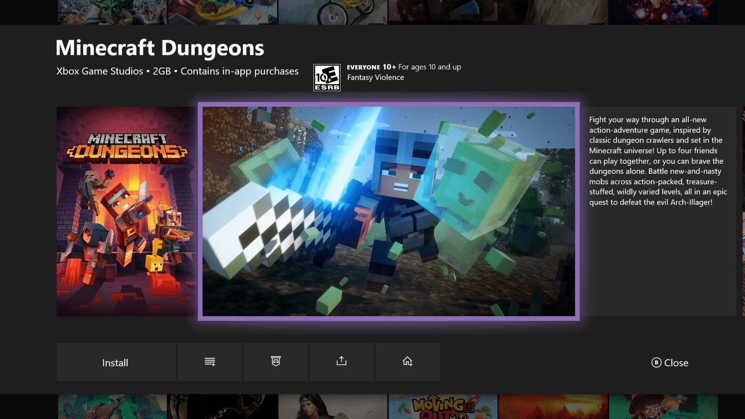 Minecraft Dungeons en la nueva tarjeta de mis juegos y aplicaciones de la actualización de Insider de XBox One