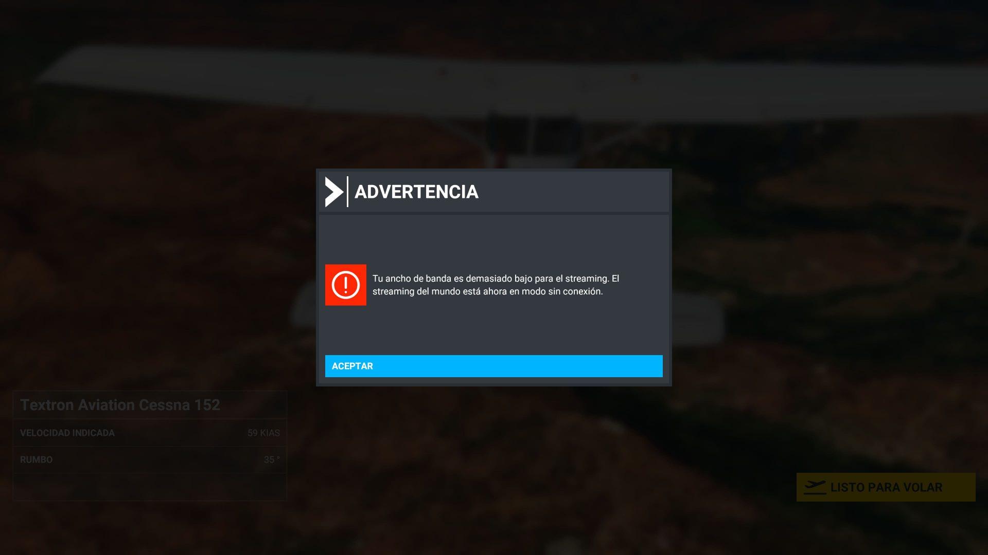 Modo sin conexión Microsoft Flight Simulator