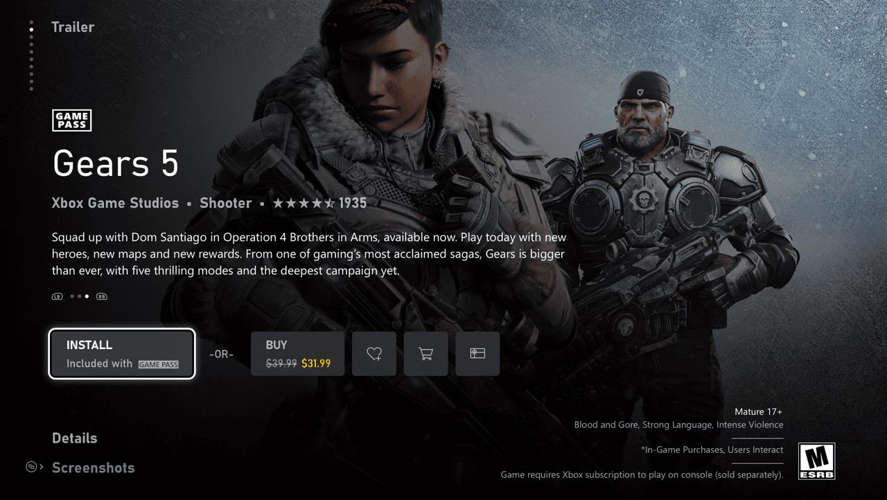 Página de Gears 5 en al Microsoft Store (Mercury)