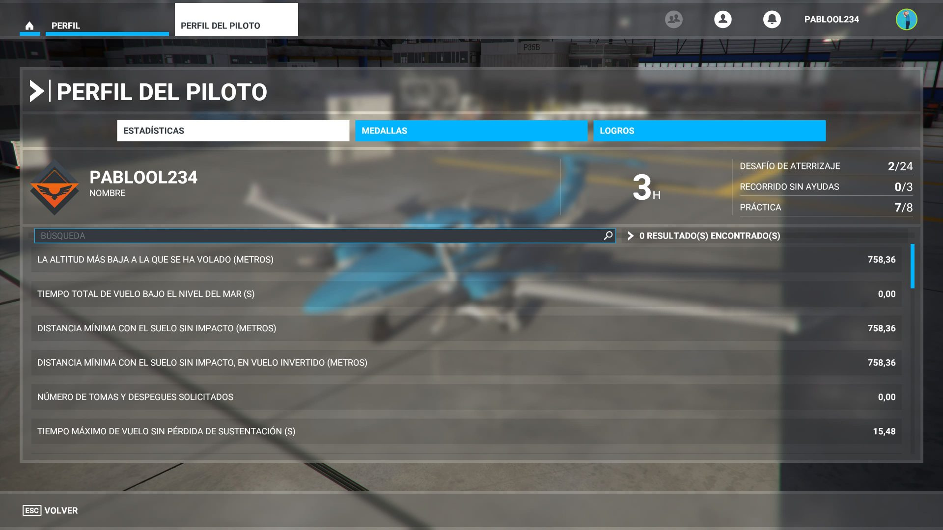 Perfil del piloto de Microsoft Flight Simulator
