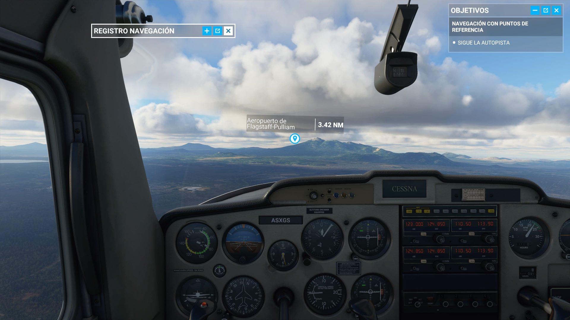 Pilotando dentro de la cabina Microsoft Flight Simulator
