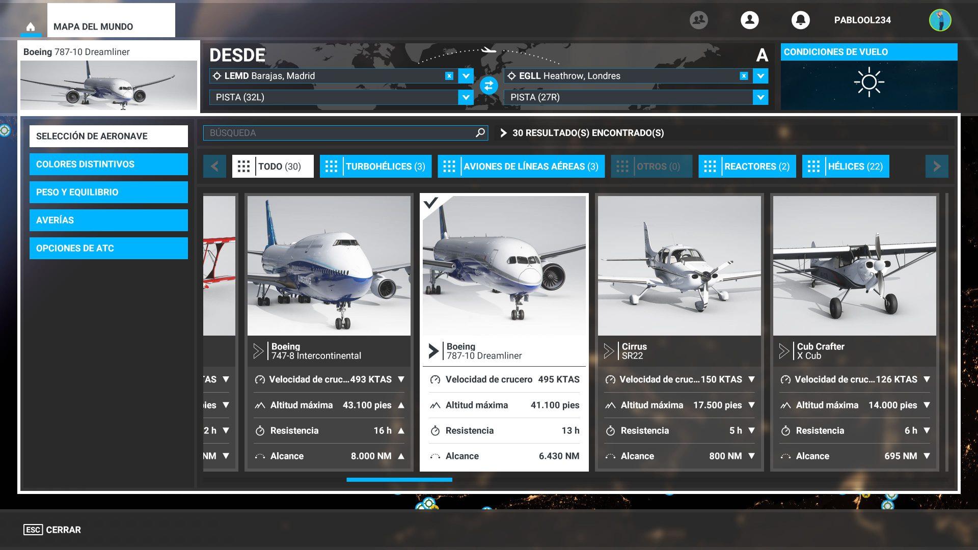 Selección de avión de Microsoft Flight Simulator