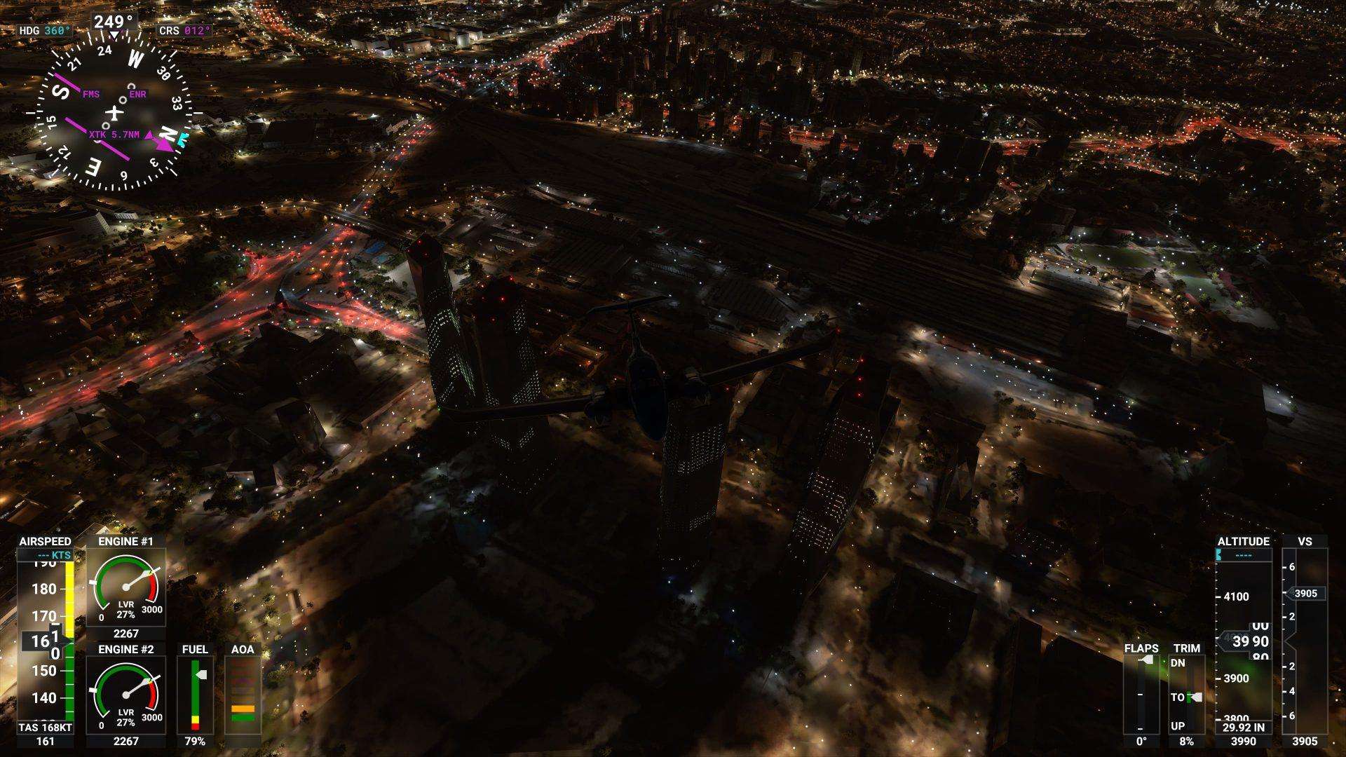 Torres de Madrid de cerca de noche en Micosoft Flight SImulator