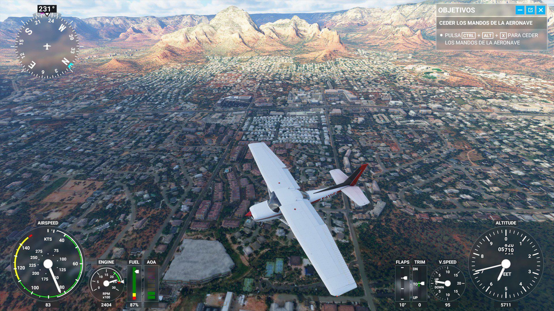 Vuelo sobre una ciudad Microsoft Flight SImulator