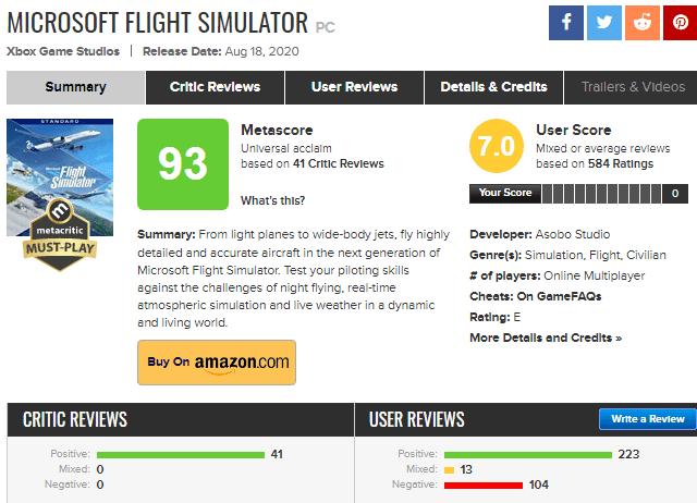 microsoft flight simulator calificacion