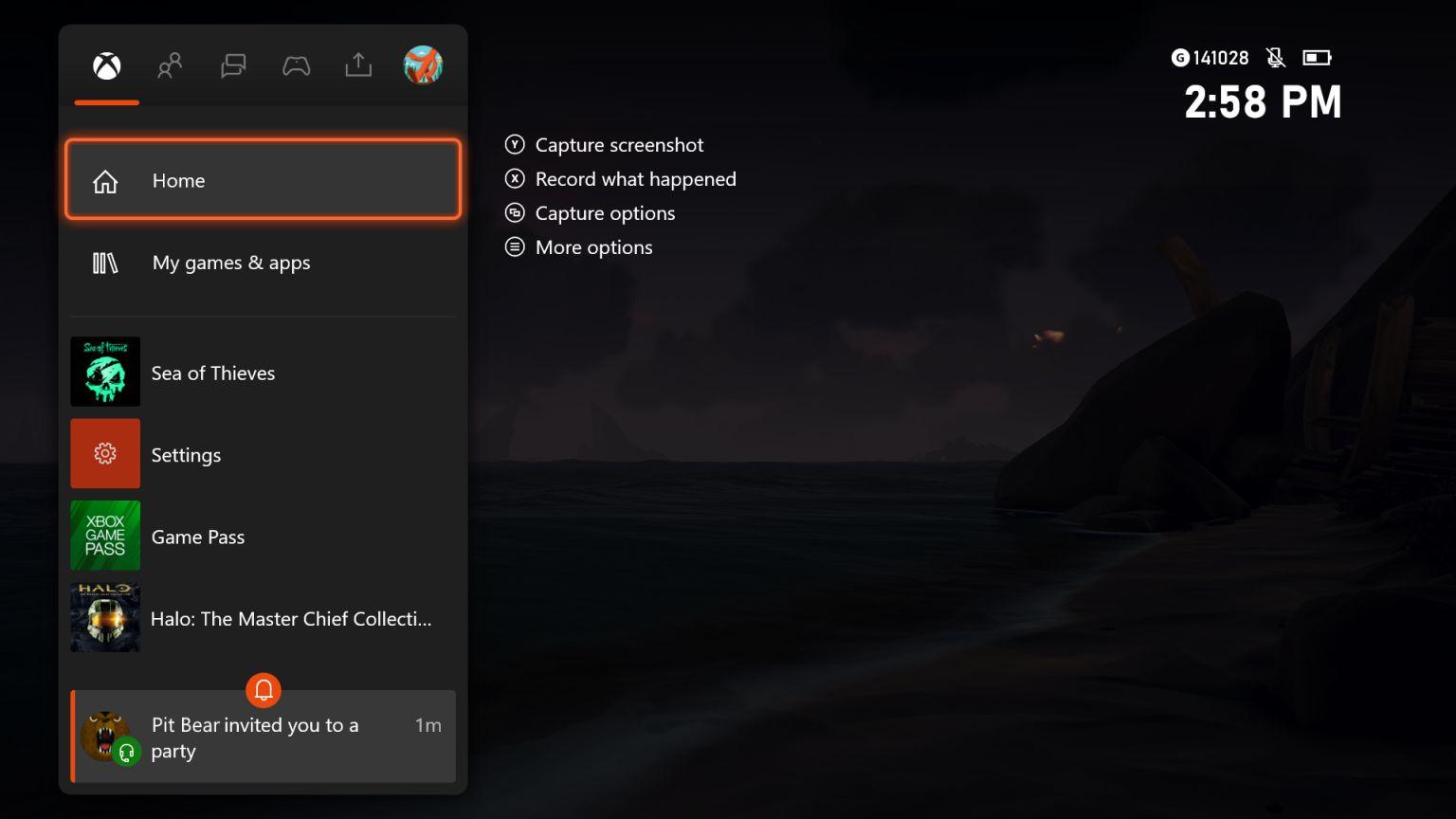Notificaciones de las invitaciones en el inicio de la Guía de la actualización de Xbox One 2010