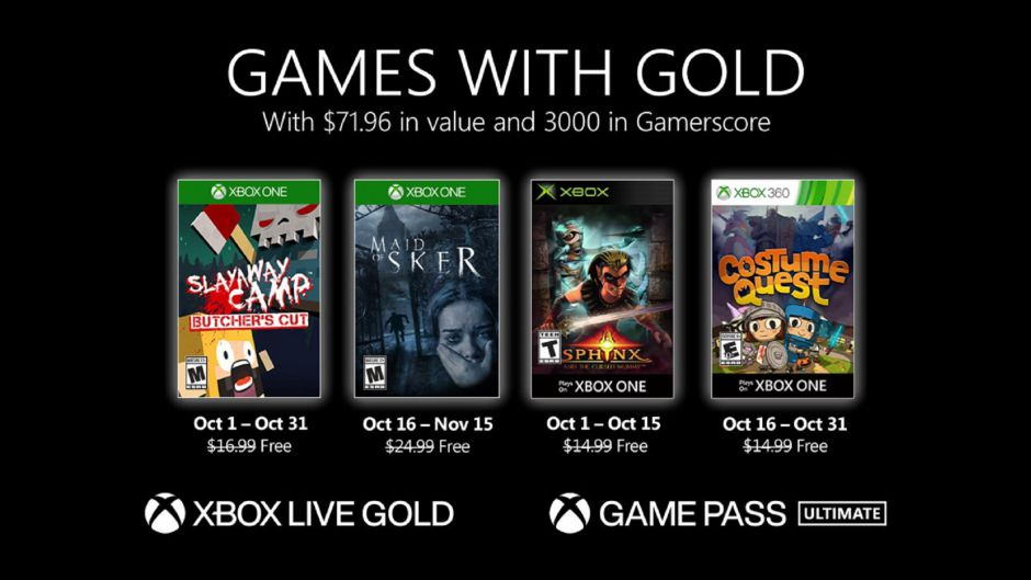 Ya disponible la segunda tanda de los Juegos con Gold de octubre