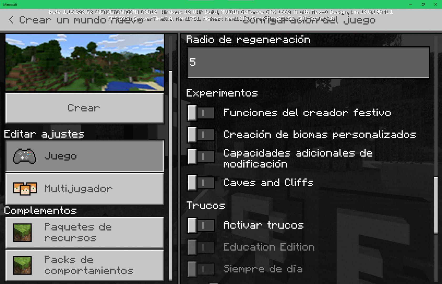 Minecraft activar cuevas y acantiladosen las funciones experimentales