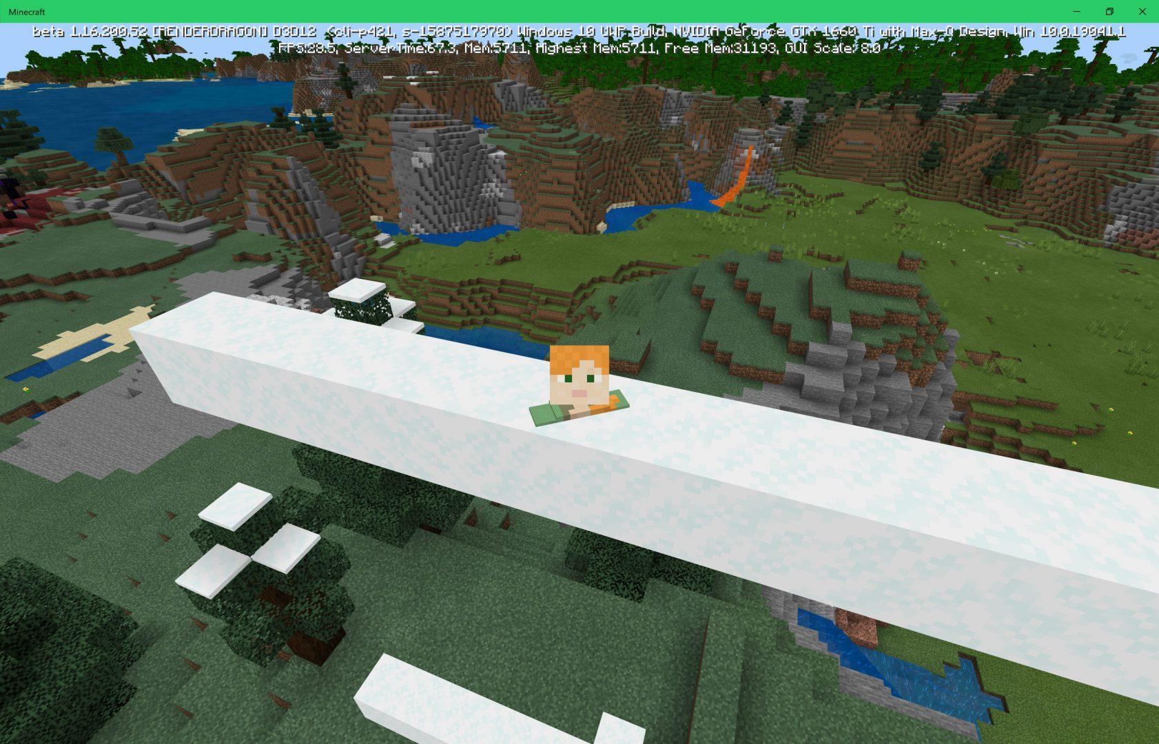 Hundiendose en la nieve en la actualización de cuevas y acantilados de Minecraft Bedrock