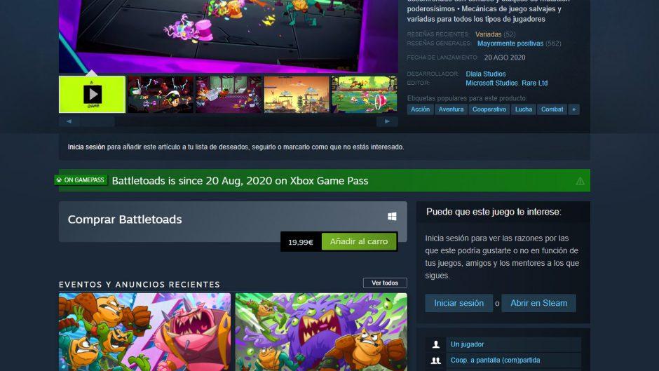 Descubre que juegos están en Xbox Game Pass con esta extensión para Steam