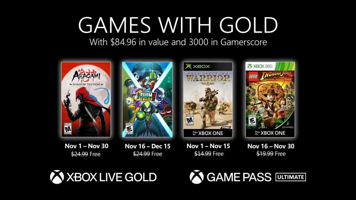 Desvelados los nuevos Juegos con Gold del mes de noviembre