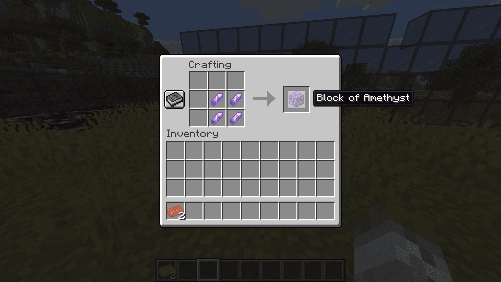 Crafteo de un bloque de amatista en Minecraft 1.17 con la Snapshot 20W45A