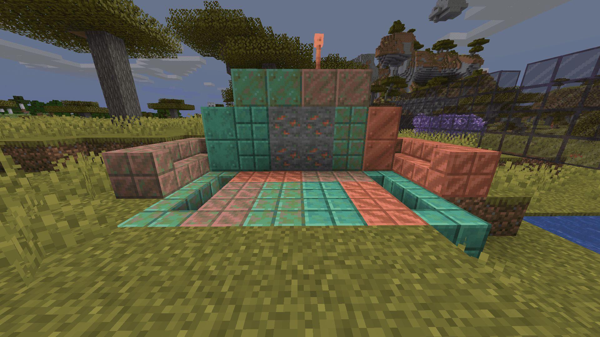 Diferentes bloques de cobre y sus estados en en Minecraft 1.17 con la Snapshot 20W45A