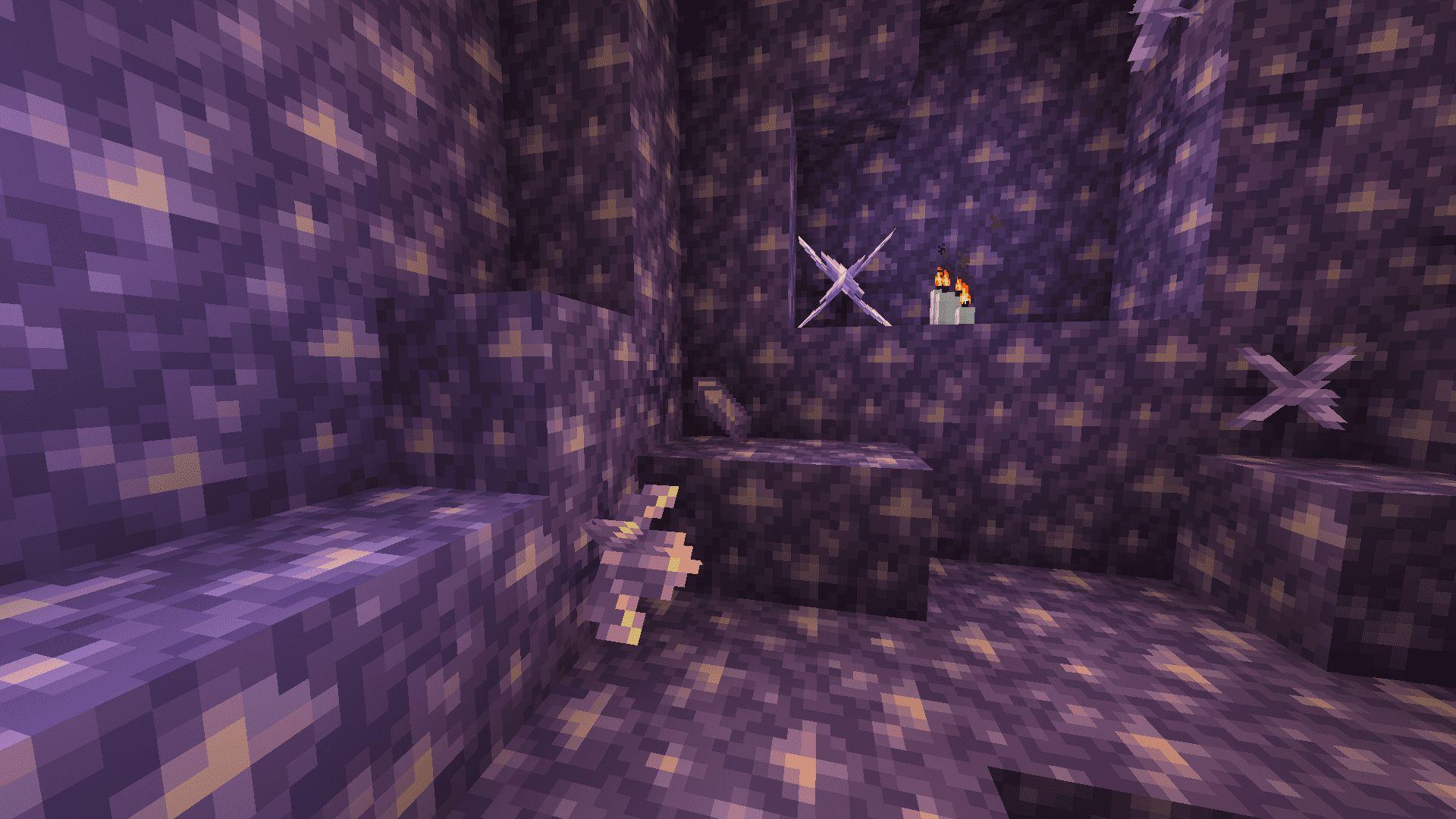 Geoda de amatista en Minecraft 1.17 con la Snapshot 20W45A