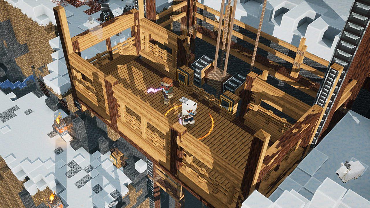 Minecraft Dungeons Howling Peaks en un ascensor