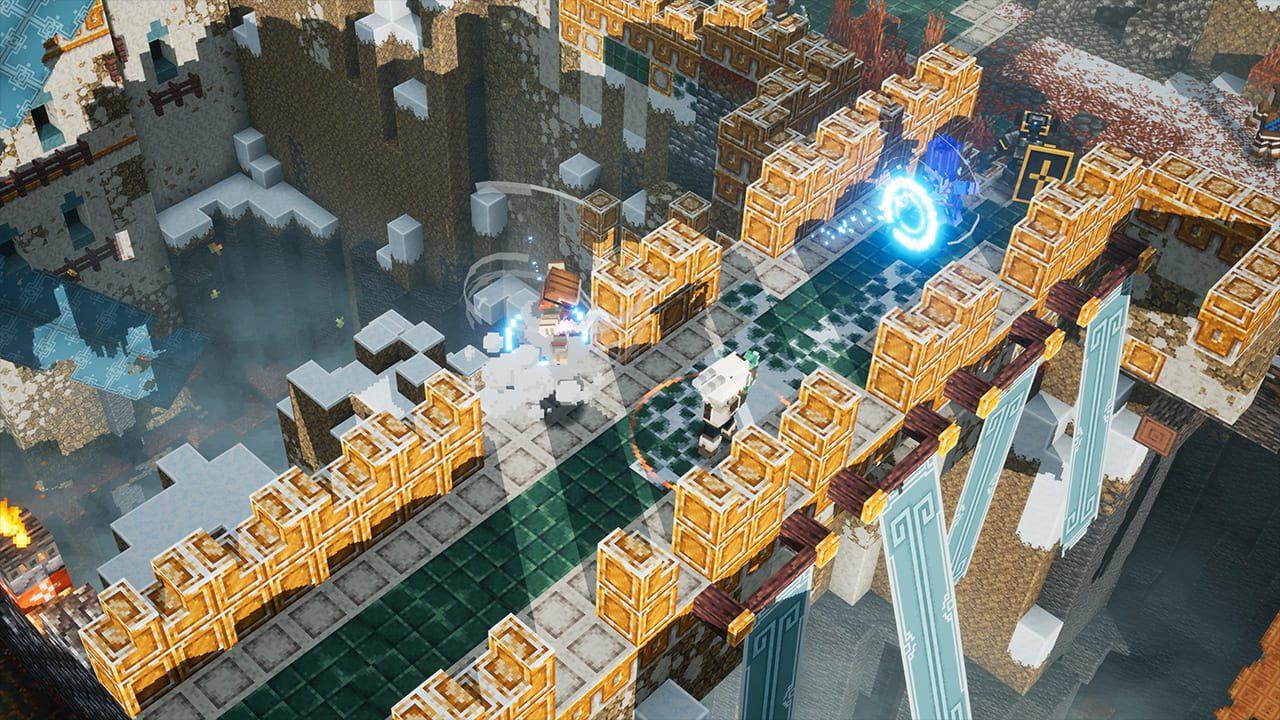 Minecraft Dungeons Howling Peaks en un puente