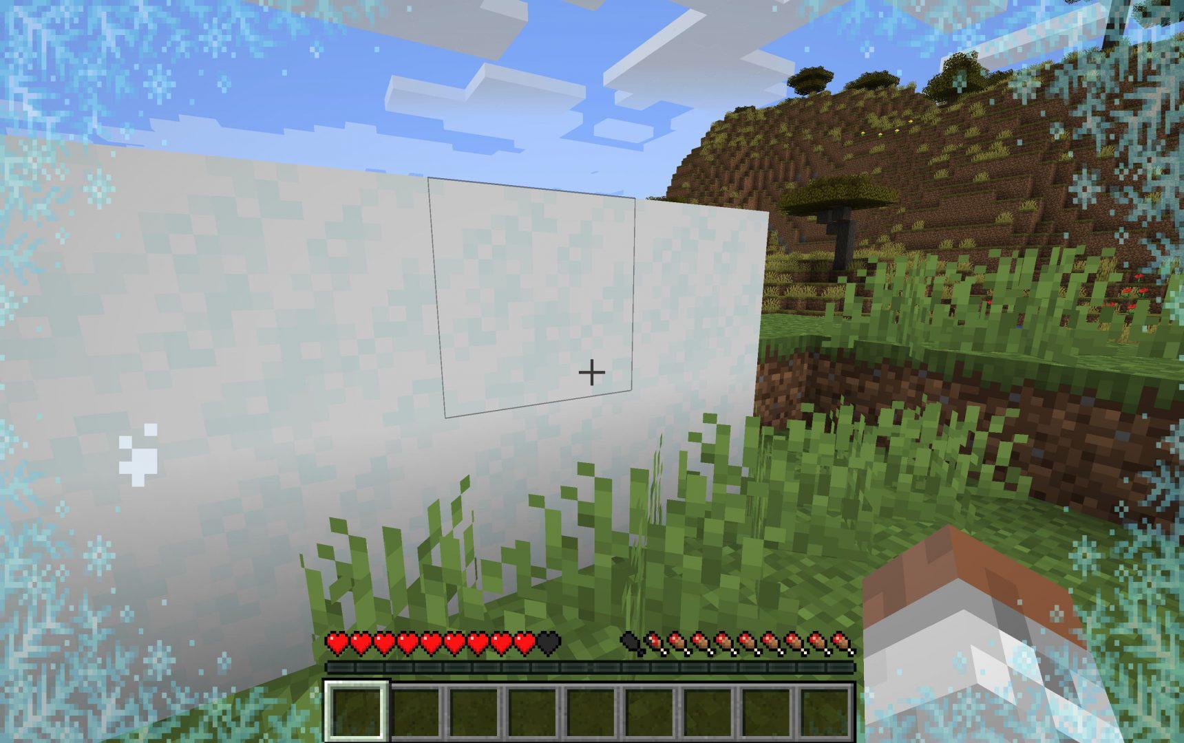 Rastro del congelamiento tras salir de dentro de la nieve en Minecraft 1.17 snapshot 20W46A