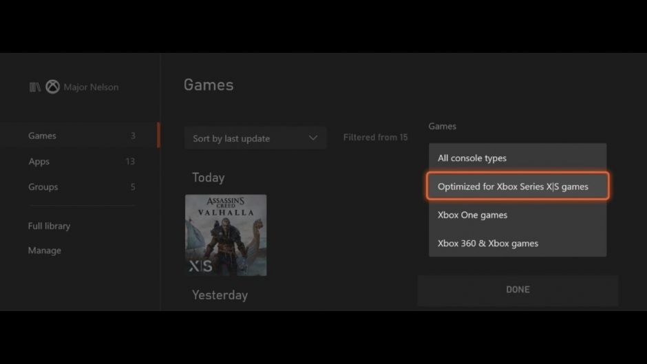 Podrás filtrar fácilmente en tu consola los juegos optimizados para Xbox Series X y S